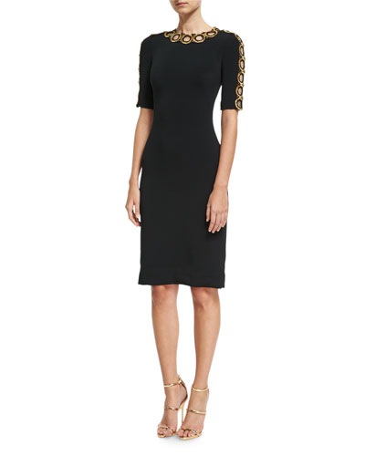 Half-Sleeve Beaded Cutout Cocktail Dress