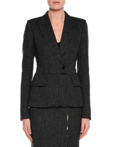 Birds Eye Wool One-Button Jacket, Black