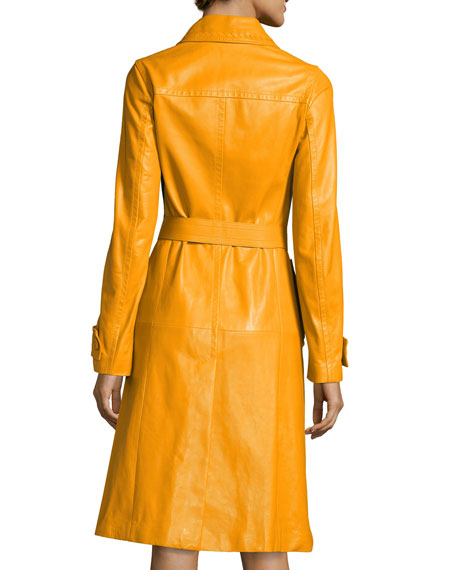 Double-Breasted Calf Leather Trenchcoat, Yellow