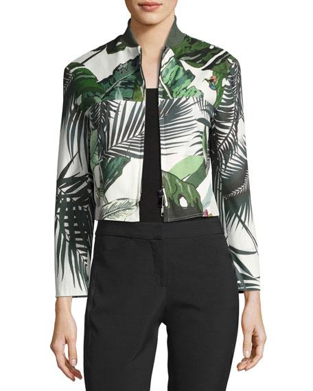 Maxmara Palm-Print Cropped Bomber Jacket