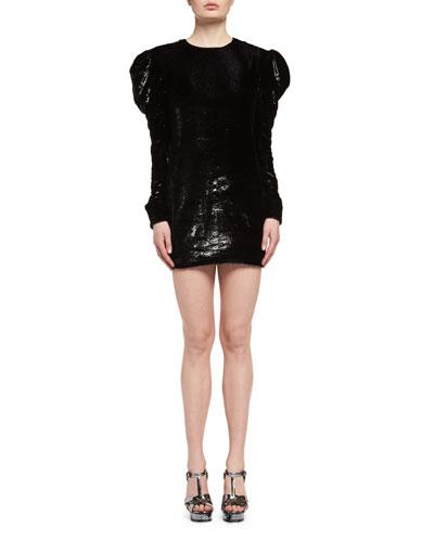 Ruched Velvet Puff-Sleeve Shift Dress