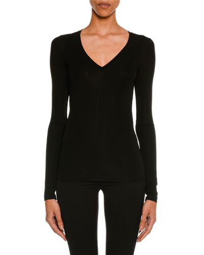 Stretch-Jersey Long-Sleeve V-Neck Top