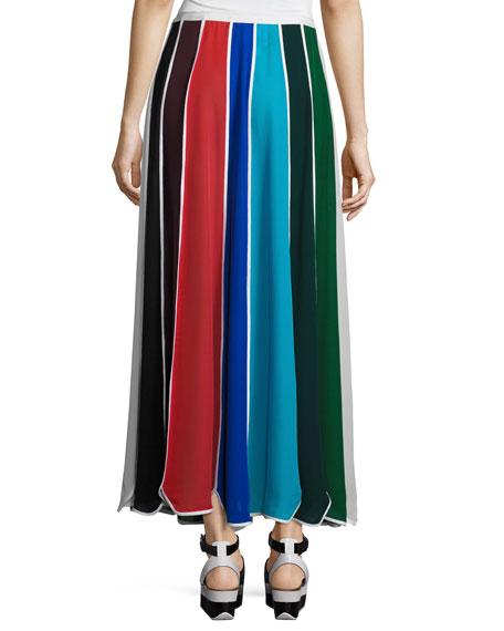 Umbrella Colorblock Silk Skirt, Multi
