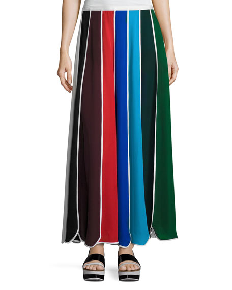 Umbrella Colorblock Silk Skirt, Multi