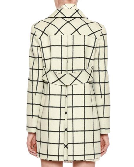 Windowpane Check Wool Coat, White/Black