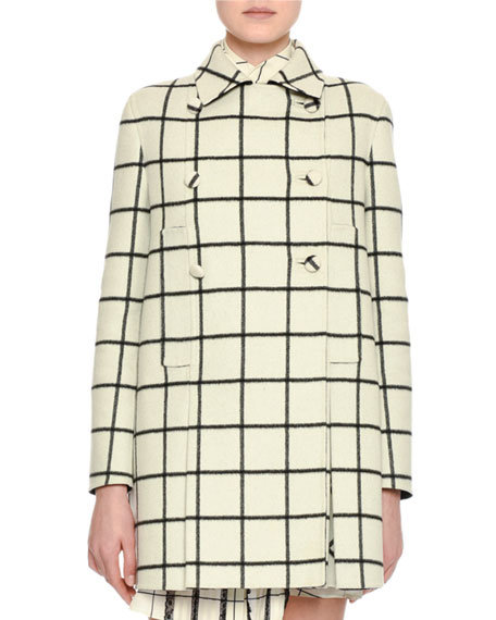 Windowpane Check Wool Coat, White/Black