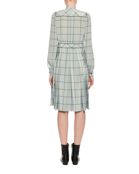 Long-Sleeve Windowpane Silk Shirtdress, Light Blue