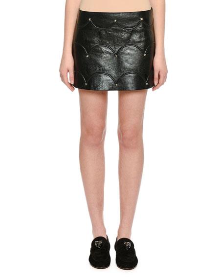 Scallop Studded Leather Mini Skirt, Black