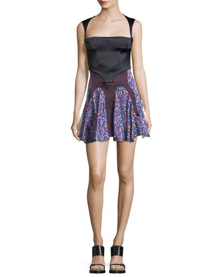 Satin Combo Halter Mini Dress
