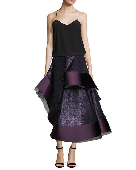 Patchwork Satin Cady Flamenco Skirt