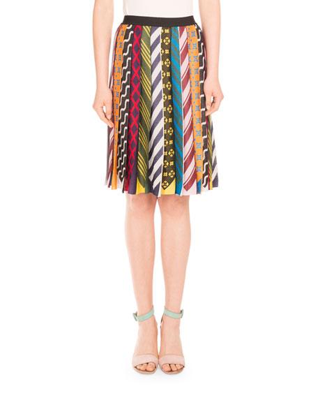 Pleated Tie-Print Midi Skirt