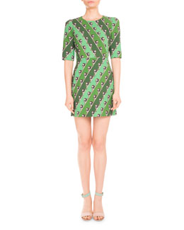 Lion-Print Elbow-Sleeve Dress, Green