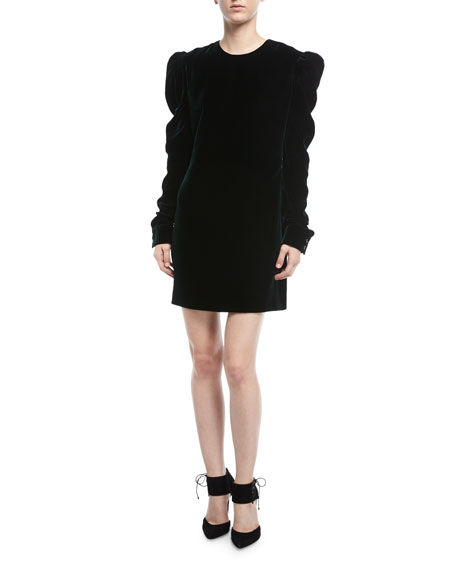 Ruched-Sleeve Velvet Shift Dress