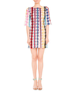 Half-Sleeve Guipure Lace Shift Dress, Multi
