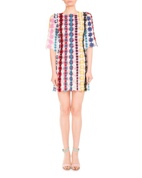 Half-Sleeve Guipure Lace Shift Dress, Multi