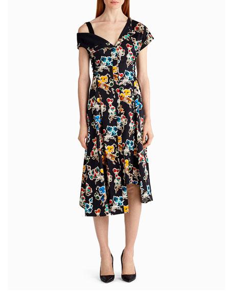 Jason Wu Printed Cotton Off-Shoulder Dress, Black Pattern