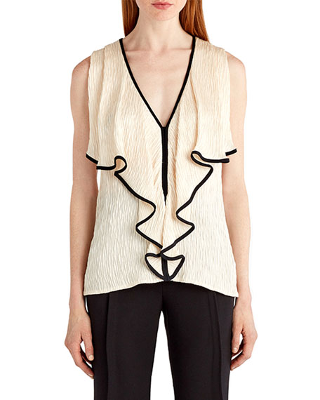 Sleeveless Tipped Cloque Top, Cream