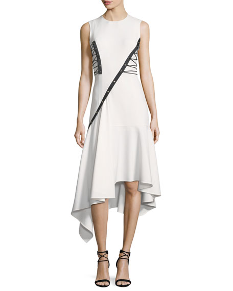 Sleeveless Lace-Up Asymmetric Dress