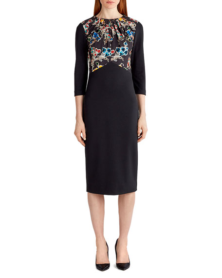 Jason Wu 3/4-Sleeve Ponte Sheath Dress, Black Pattern