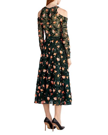 Floral-Embroidered Cold-Shoulder Dress, Black Pattern
