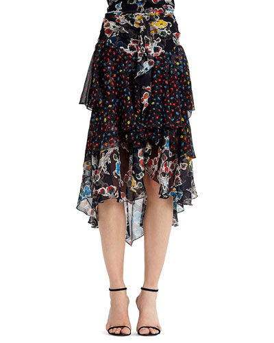 Mixed-Print Chiffon Midi Skirt, Black Pattern