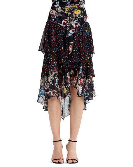 Mixed-Print Chiffon Midi Skirt, Black Pattern