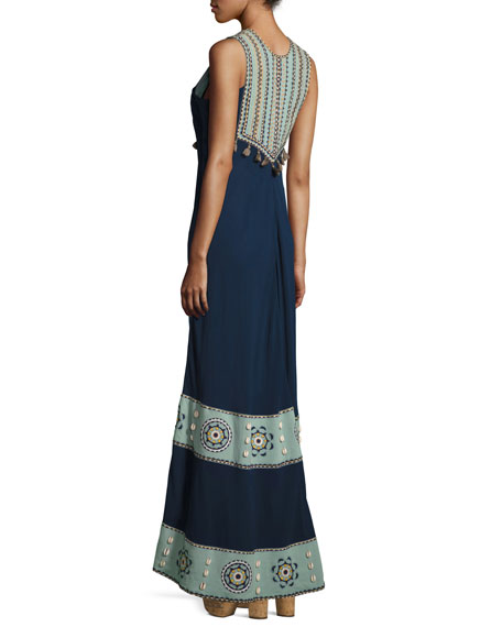 Embroidered Cotton-Silk Sleeveless Maxi Dress, Navy