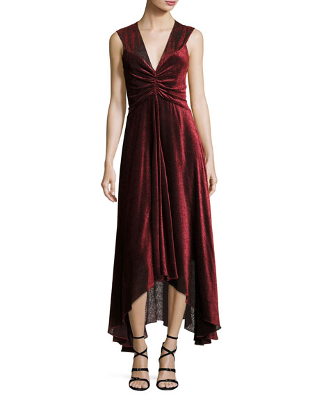 Pebbled Burnout Velvet Ruched Dress, Black/Red
