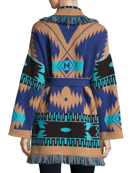 Southwestern Cashmere Robe Sweater, Blue Pattern