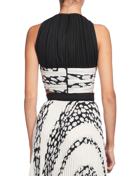 Printed Cloque Crop Top, White Pattern