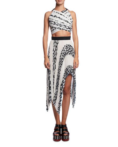 Asymmetric Pleated Cloque Midi Skirt, White Pattern