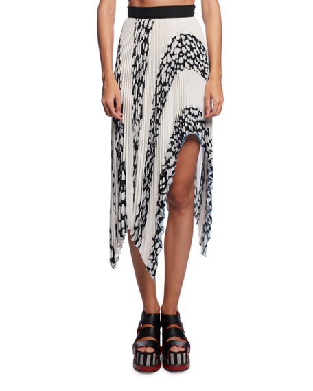 Asymmetric Pleated Cloque Midi Skirt, White Pattern