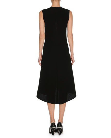 Sleeveless Stitch-Detail Midi Dress, Black