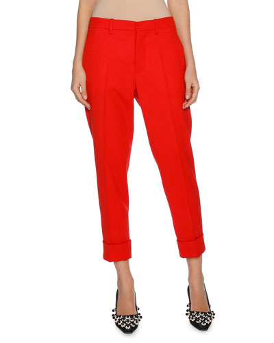 Cropped Straight-Leg Pants with Cuffed Ankle, Red