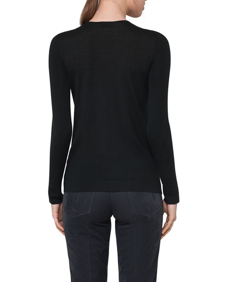 Cashmere-Silk Crewneck Pullover