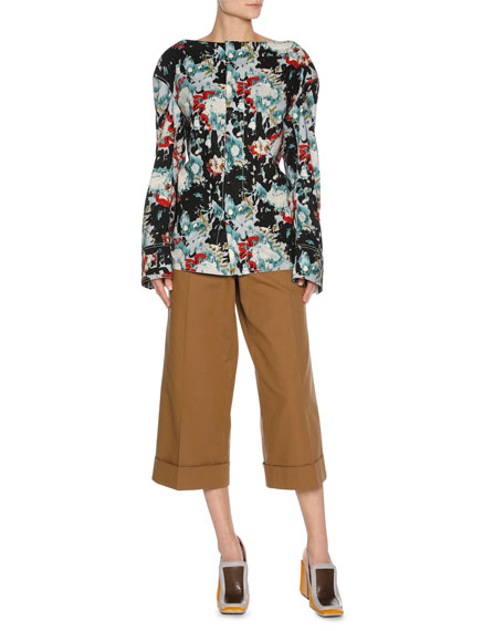 Stretch-Cotton Culottes, Neutral