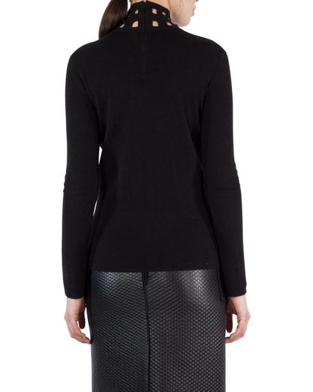 Net-Cutout Cashmere-Silk Mock-Neck Sweater