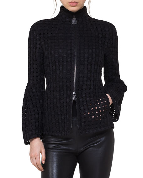 Karl Eyelet Zip-Front Jacket