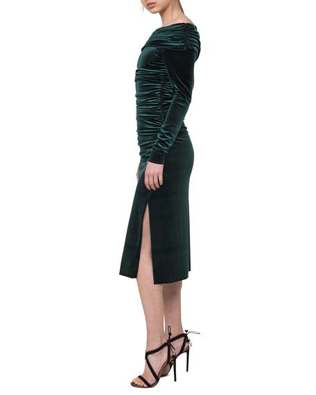 Ruched Off-the-Shoulder Velvet Midi Dress