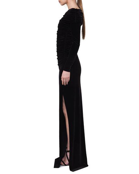 Ruched Off-the-Shoulder Velvet Gown