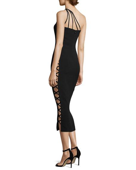Alpha One-Shoulder Midi Cocktail Dress, Black
