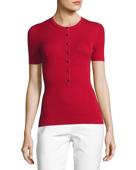 Short-Sleeve Merino Knit Henley Top