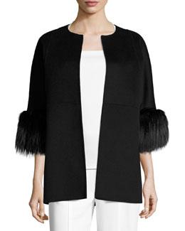 Fur-Cuff 3/4-Sleeve Coat