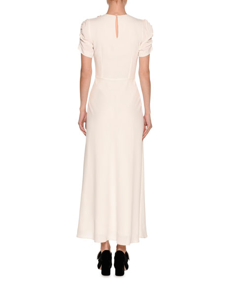 Floral-Embellished Ruched-Sleeve Maxi Dress, White