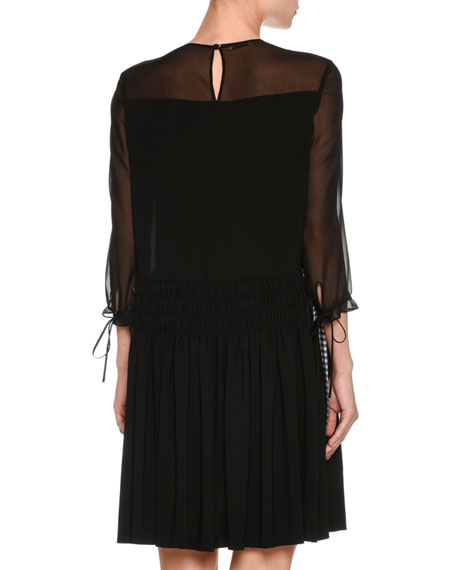 3/4-Sleeve Sable Dress, Black