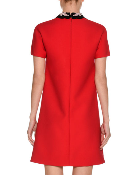 Short-Sleeve Cady Dress w/Macrame Collar, Red