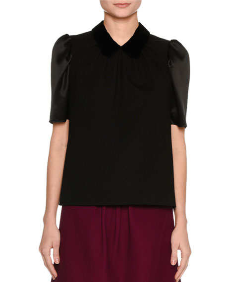 Short-Sleeve Velvet Top, Black