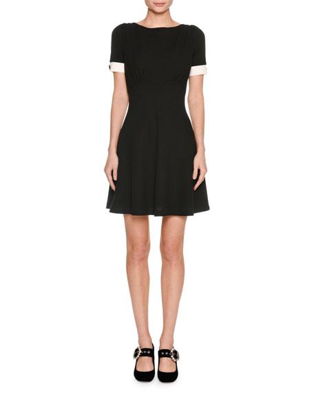 Short-Sleeve V-Back Dress, Black