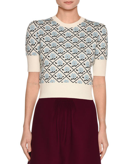 Short-Sleeve Floral Jacquard Sweater, White