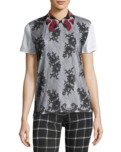 Macrame Lace Polo T-Shirt